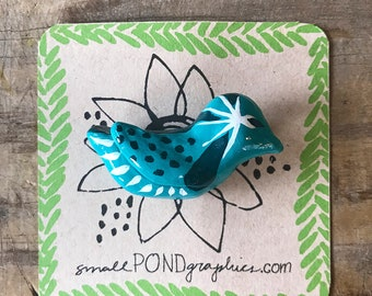 Blue Bird Pin - Handcrafted Jewelry - Vintage Inspired Brooch - Hand Molded, Hand Painted Paper Clay