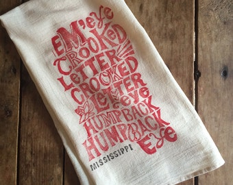 Mississippi Flour Sack Towel - Crooked Letter - Tea Towel - Hand Block Printed - Unbleached 100% Cotton - Optional Draw String Packaging