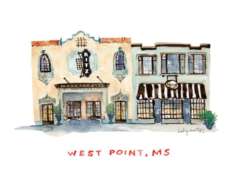 Ritz Theater Magnolia/'s Restaurant MS 8 x 10 Mississippi West Point