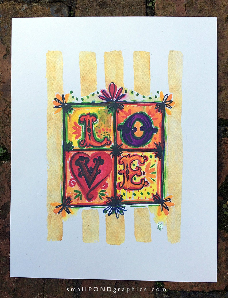 LOVE Watercolor Print with hand lettering
