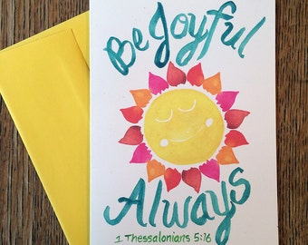 Be Joyful -- Watercolor Notecards, Hand Lettering