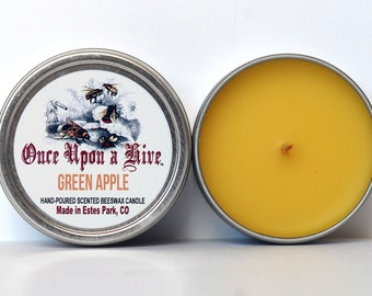 Green Apple Beeswax Candle Tin | 4 oz. Candle | Natural | Travel Tin | Container Candle | Scented