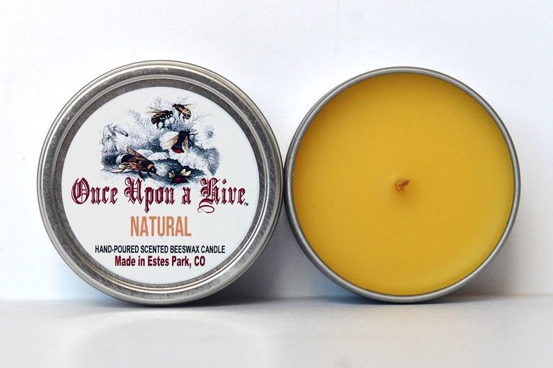 Natural Beeswax Candle Tin  4 oz. Candle  Travel Tin  image 0