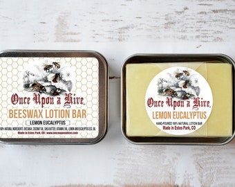 Beeswax Lotion Bar | Lemon Eucalyptus | Skin Cream | Body Butter | Essential Oil | Travel Tin | Moisturizing | Natural