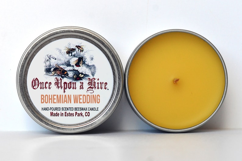 Bohemian Wedding Beeswax Candle Tin  Signature Scent  4 oz. image 0