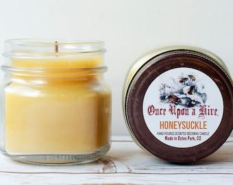 Honeysuckle Beeswax Jar Candle | 8 oz. | Natural | Mason Jars | Scented