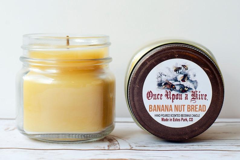 Banana Nut Bread Beeswax Jar Candle  8 oz.  Natural  Mason image 0