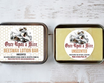 Beeswax Lotion Bar | Unscented | Skin Cream | Body Butter | Essential Oil | Travel Tin | Moisturizing | Natural