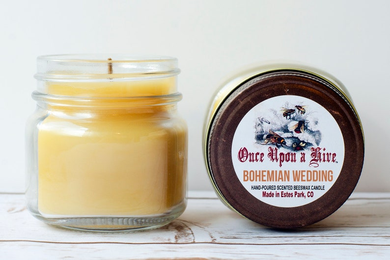Bohemian Wedding Beeswax Jar Candle  8 oz.  Natural  Mason image 0
