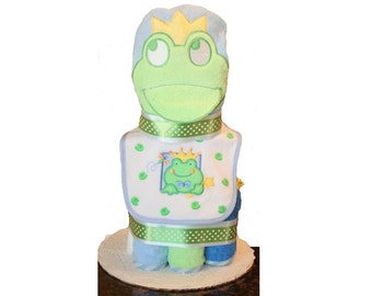 Frog Prince Baby Boy Diaper Cake - Baby Shower Diaper Cake - Fairy Tale Baby Diaper Cake - Baby Diaper Cake Centerpiece