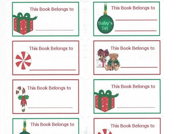 graphic about Christmas Labels Printable referred to as Xmas Ebook Little one Shower Labels - Printable Xmas Labels - Electronic Vacation E-book Labels