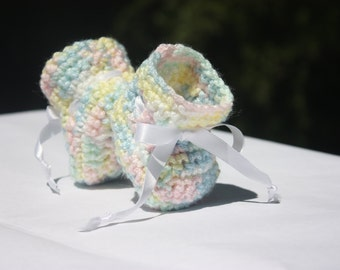 Rainbow Crochet Baby Booties - Pastel Rainbow Booties - Newborn Booties