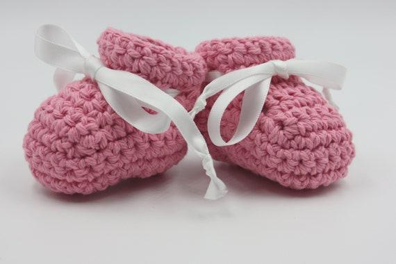 Pink Cotton Baby Booties Crochet Summer