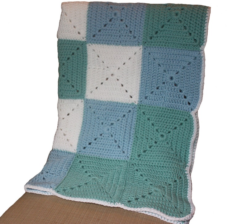 Blue and Green Granny Square Baby Blanket  Blue and Green image 0