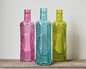 Vintage Style Coloured Glass Bottle