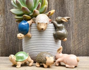 Handmade Ceramic Pot Planter Pals Ceramic Pot Hanging Animals Hedgehog - Rabbit - Turtle