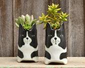 Handmade Cute 39 Huxley 39 Dog Black White Tall Plant Pot Planter