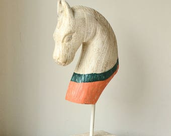 Rustic White, Orange & Green Timber Horse Bust Statue on Stand