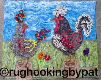 2 Chicken Rug Hooking Kit