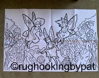 Three Fairies Rug Hooking Pattern