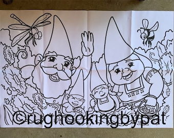 Gnome Family rug hooking pattern