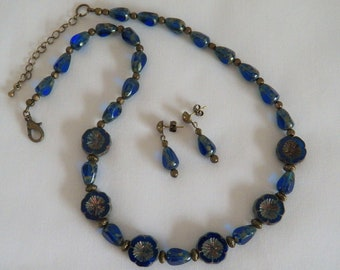 Sapphire Picasso Czech Glass Necklace and Earrings, Oval and Teardrop Czech Beads