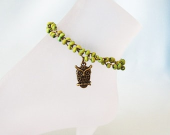 Lime Green Wood Beads and Brass Owl Ankle Bracelet