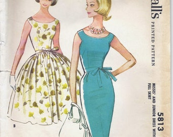 1960s McCall's 5813 Misses' Dress with Slim or Full Skirt Sewing Pattern UNCUT