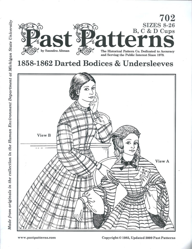 Steampunk Sewing Patterns- Dresses, Coats, Plus Sizes, Men's Patterns 1858-1862 Darted Bodices & Undersleeves Sewing Pattern UNCUT Past Patterns 702 Misses  $16.00 AT vintagedancer.com