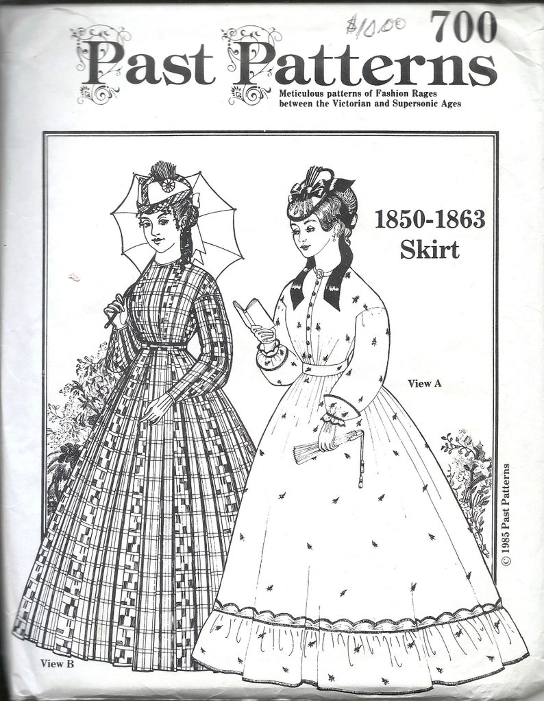 Steampunk Sewing Patterns- Dresses, Coats, Plus Sizes, Men's Patterns Past Patterns 700 Misses Civil War Skirt Sewing Pattern UNCUT $9.00 AT vintagedancer.com