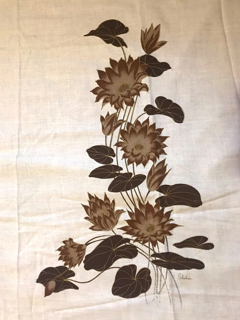 1960s Alfred Shaheen Hawaiian Fabric Panel Brown Lily Pad /& Blossoms Floral Pattern Hand Silk Screened