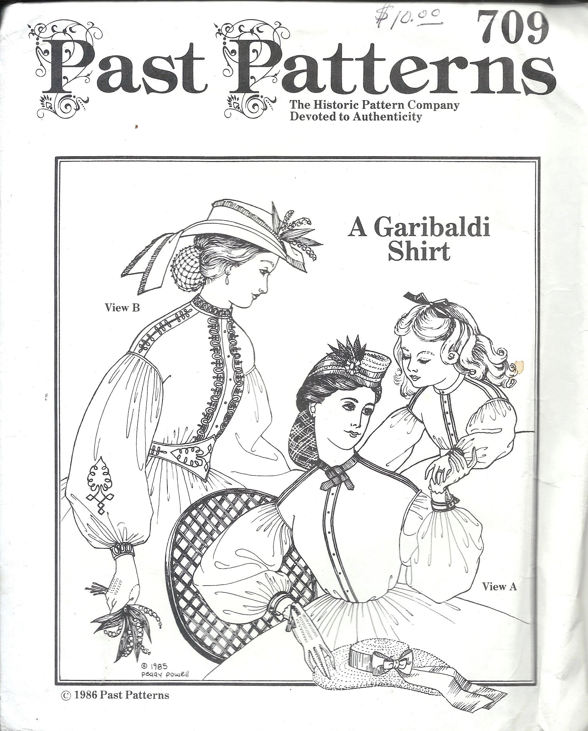 Steampunk Sewing Patterns- Dresses, Coats, Plus Sizes, Men's Patterns Past Patterns 709 Misses Garibaldi Shirt Sewing Pattern UNCUT $9.00 AT vintagedancer.com