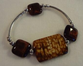 Snakeskin jasper and tiger eye bracelet