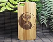 Tree of Life iPhone 8 Case. Eco-Friendly Bamboo Wood Cover. Yin Yang Symbol Spirituality Zen Underword Cosmos. Celtic Irish iMakeTheCase