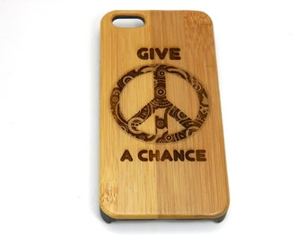 Give Peace a Chance iPhone 6S or iPhone 6 Case. Bamboo Wood Cover Retro John Lennon Tribute Peace Sign Hippie Chic Peaceful Symbol Groovy