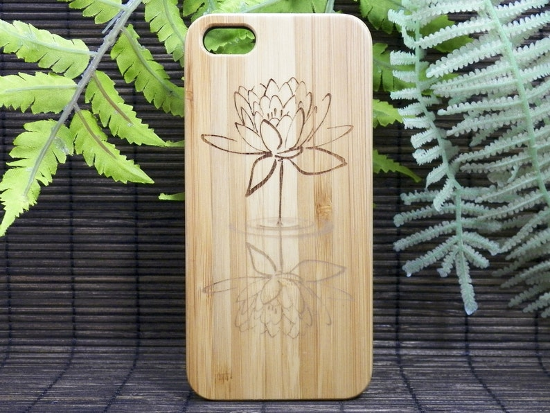 Lotus Flower iPhone 6S or iPhone 6 Case  Eco-Friendly Bamboo Wood Cover  Water Reflection  Yoga Spiritual Enlightenment Buddhist Awakening