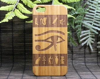 Eye of Horus iPhone 5 or 5S or SE Case. Wedjat Falcon God. Egyptian Hieroglyph Spiritual Symbols Ankh. Eco-Friendly Bamboo Wood Cover Skin.
