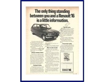 ac31aca09d RENAULT 16 AUTOMOBILE Original 1970 Vintage Extra Large Black   White Print  Ad - French Car