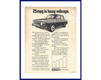 4b3ed01385 RENAULT 10 AUTOMOBILE Original 1970 Vintage Extra Large Black   White Print  Advertisement - French Car