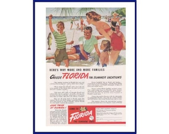Families Choose Florida for Summer Vacations Vintage Print Ad 1949 Florida