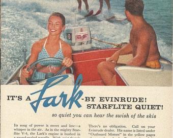 Evinrude Lark Quiet Outboard Boat Motor Original 1958 Vintage Print Ad Color Photo Handsome Hunks Water Skiing