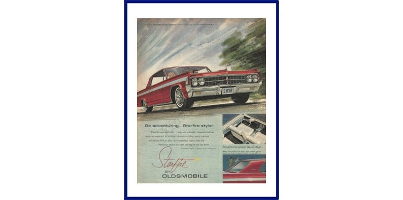 Vintage Oldsmobile Starfire Car Ad Poster Home Decor Man Cave Art