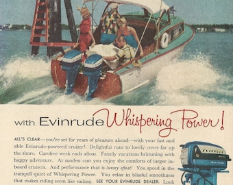 Evinrude Outboard Motors Original 1956 Vintage Color Print Advertisement - Two Couples Boating by Channel Marker