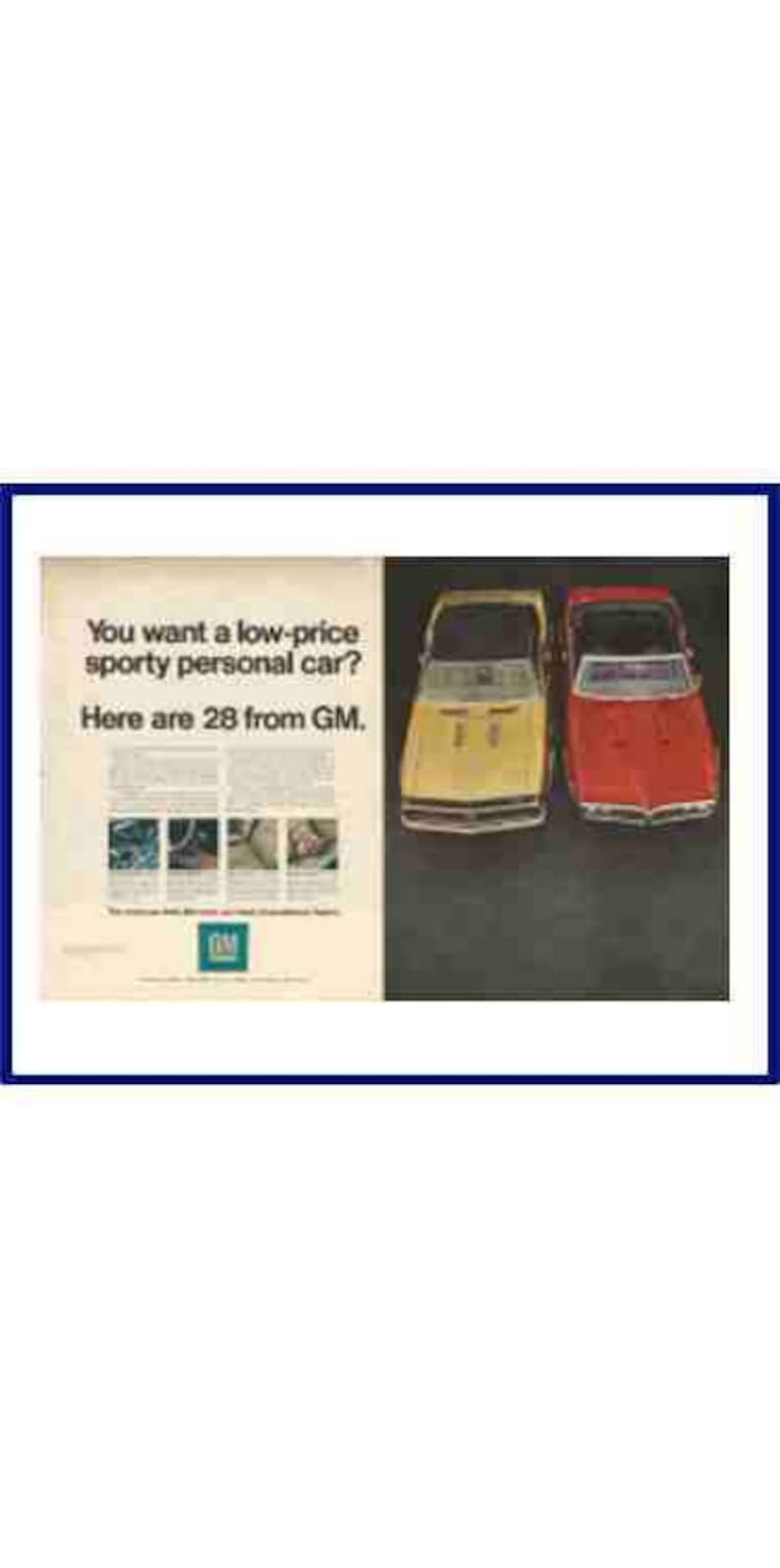 GENERAL MOTORS Automobiles Original 1969 Vintage Extra Large Color Print Ad  You Want A Low-Price Sporty Personal Car Her Are 28 From GM
