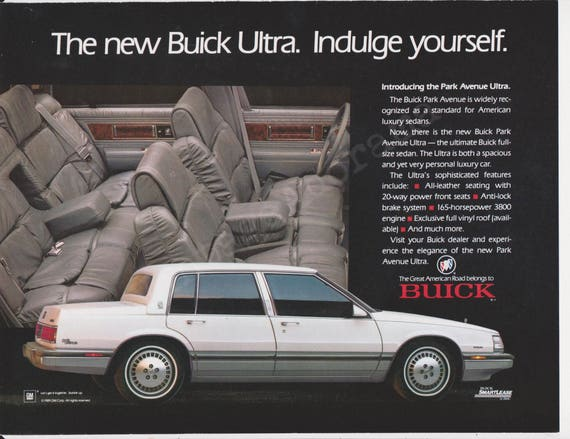 buick park avenue ultra automobile original 1989 vintage color etsy buick park avenue ultra automobile original 1989 vintage color print advertisement the new buick ultra indulge yourself