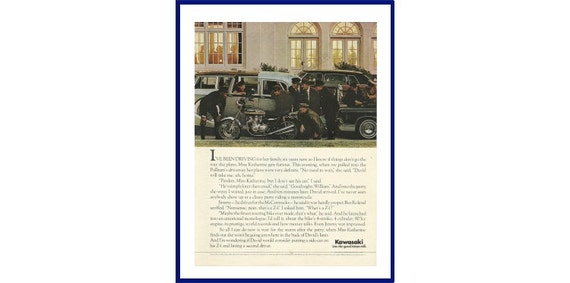 KAWASAKI Z-1 MOTORCYCLE Original 1975 Vintage Color Print Advertisement -  Chauffeurs Admiring Motorcycle In Front Of Mansion