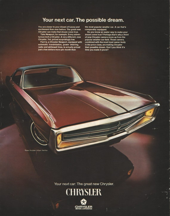 CHRYSLER NEWPORT AUTOMOBILE Original 1969 Vintage Extra Large Color Print  Advertisement