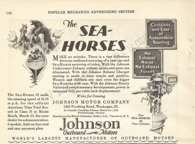 "JOHNSON OUTBOARD MOTORS Original 1929 Vintage Print Ad - ""The Sea Horses""; Waukegan, Illinois"