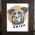 Custom Dog Portrait Illustration Screen Print 8 x 10 Custom Art Pet Gift Metallic Gold