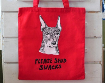 Tote Bag - Please Send Snacks Dog Face Screen Print Hungry